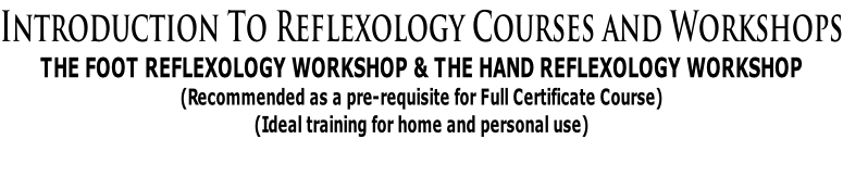 Introduction To Reflexology Courses and Workshops THE FOOT REFLEXOLOGY WORKSHOP & THE HAND REFLEXOLOGY WORKSHOP  (Recommended as a pre-requisite for Full Certificate Course)  (Ideal training for home and personal use)